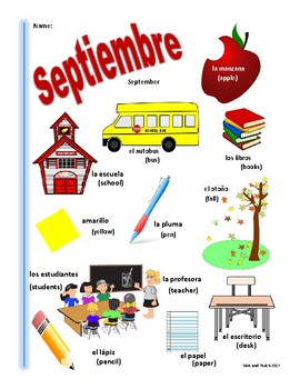 SPANISH September Themed Vocabulary Bilingual