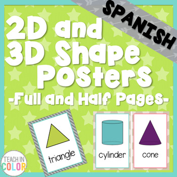 SPANISH Shape Posters 2D and 3D - Country Cool - Teal, Green, Coral, Gray, Tan