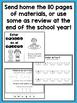 SPANISH Summer Homework Pack for Rising First Graders or E
