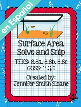 Spanish Surface Area Word Problems Solve and Snip®
