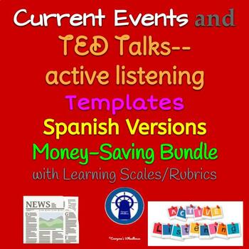 SPANISH TED Talks/Guest Speakers Active Listening and Current Events Bundle