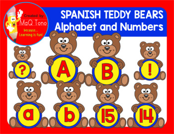SPANISH TEDDY BEARS ALPHABET AND NUMBERS