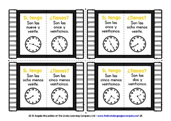 SPANISH TELLING TIME (3) - I HAVE, WHO HAS? 2 GAMES, 2 CHALLENGES!