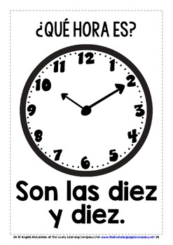 SPANISH TELLING TIME FLASHCARDS / POSTERS (2)