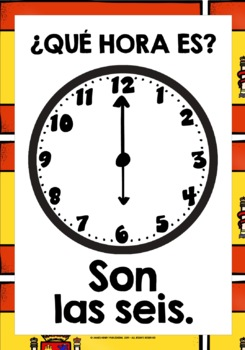SPANISH TELLING TIME FLASHCARDS / POSTERS EVERY ANALOG CLOCK TIME IN SPANISH!