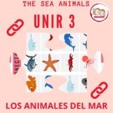 SPANISH THE SEA ANIMALS: LOS ANIMALES DEL MAR. Connect 3 GAME. Juego conecta 3