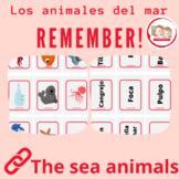 SPANISH THE SEA ANIMALS: LOS ANIMALES DEL MAR. MEMORY GAME. Juego de memoria
