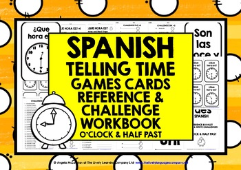 SPANISH TELLING TIME CARDS & WORKBOOK 1