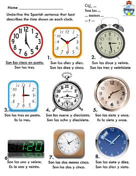 SPANISH: Telling Basic Time Practice & Adding Minutes