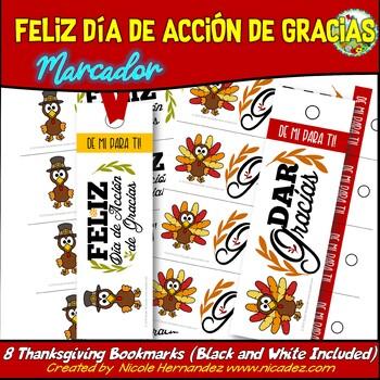 SPANISH Thanksgiving Bookmarks - Marcadores de acción de gracias