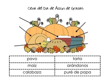 SPANISH Thanksgiving Vocabulary-Labeling