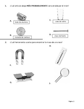 SPANISH * Third Grade Science TEKS End-of-Year Assessment * SPANISH
