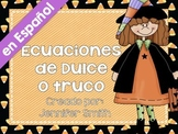 SPANISH Trick or Treat Equation Task Cards