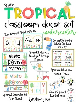 SPANISH Tropical Classroom Decor Set! Over 100 Pages!  sc 1 st  Teachers Pay Teachers : set the table in spanish - pezcame.com