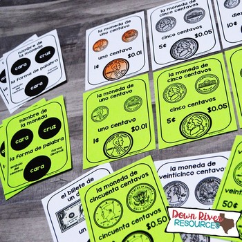SPANISH U.S. Coins Posters | U.S. Coins Spanish Flashcards for Identifying Coins
