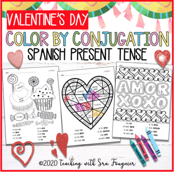 SPANISH VALENTINE'S DAY Color by Conjugation - PRESENT Tense