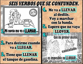 A~SPANISH~G~VERBOS QUE SE CONFUNDEN contextualized vocabulary