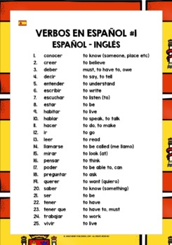SPANISH VERBS 25 MUST-HAVE VERBS REFERENCE LIST #1