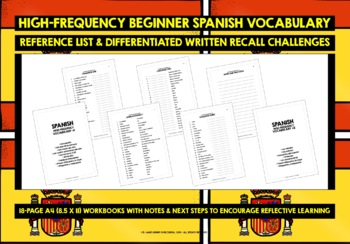 SPANISH VOCABULARY (1&2) PRACTICE & REVISION - 198 WORDS & PHRASES