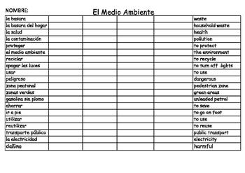 SPANISH - VOCABULARY PRACTICE - El Medio Ambiente (Environment)