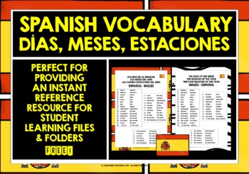 SPANISH DAYS, MONTHS, SEASONS VOCABULARY REFERENCE LIST