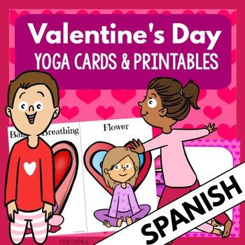 SPANISH Valentine's Day Kids Yoga Cards and Printables ESPANOL
