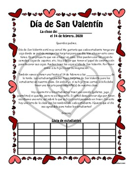 Valentines Day Party Letter To Parents Spanish Worksheets & Teaching  Resources | TpT