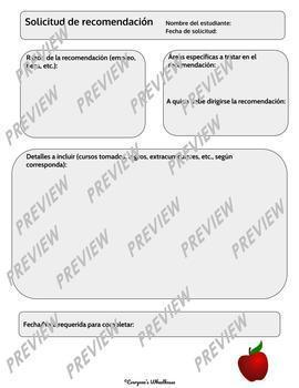 SPANISH Version Secondary Student Request Forms