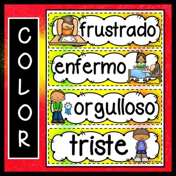 SPANISH BACK TO SCHOOL WORD WALL FREEBIE:  FEELINGS & EMOTIONS