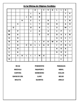 SPANISH - WORDSEARCH - En la Oficina de Objetos Perdidos (Lost Property)