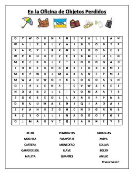 SPANISH - WORDSEARCH - En la Oficina de Objetos Perdidos (