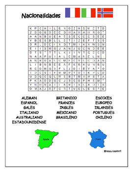 SPANISH - WORDSEARCH - Nacionalidades (Nationalities)