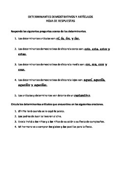 SPANISH WORKSHEET - Determinantes Demostrativos y Artículos