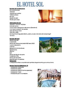 SPANISH - WORKSHEET - El Hotel Sol