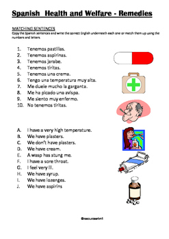 SPANISH - WORKSHEET - Health and Welfare