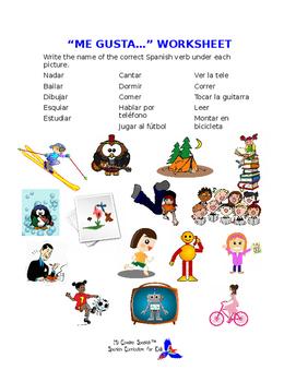 "SPANISH WORKSHEETS! - ""Me Gusta"" & Verbs"