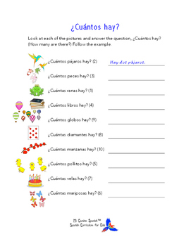SPANISH WORKSHEETS! - Numbers, Colors & Shapes