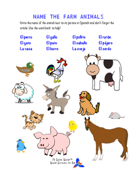 SPANISH WORKSHEETS! - Parts of the Body & Animals (Farm, Ocean, Jungle)