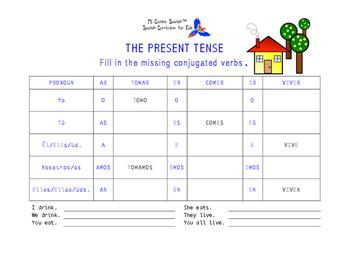 SPANISH WORKSHEETS! - The Present Tense