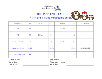 SPANISH WORKSHEETS! - The Present Tense