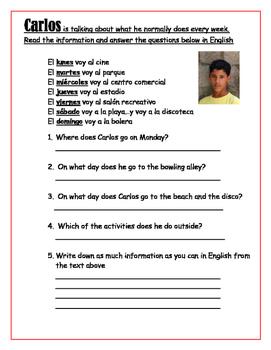 SPANISH - WORKSHEET - Carlos (reading comprehension)
