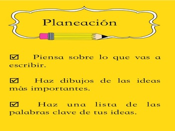 SPANISH WRITING PROCESS POSTERS / ANCHOR CHARTS