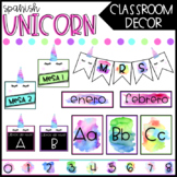 SPANISH Unicorn Classroom Decor - Editable Bundle