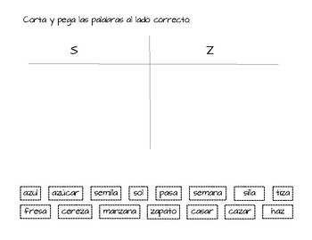photo regarding Printable Word Sorts called SPANISH Phrase Form S and Z - printable or Google Programs