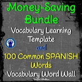 SPANISH Word Wall Bundle--100 Spanish Words and Vocab. Template CHALKBOARD THEME