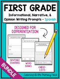 SPANISH Writing Prompts for 1st - Informational, Narrative, & Opinion BUNDLE