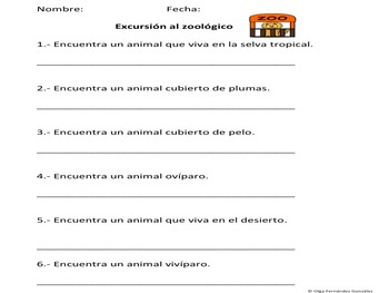 SPANISH ZOO FIELD TRIP SCAVENGER HUNT