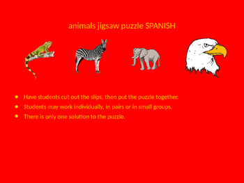 SPANISH animals jigsaw puzzle