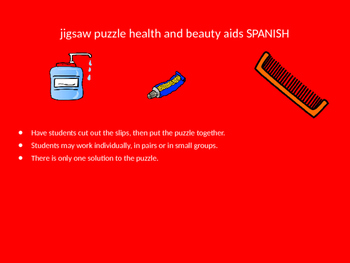 SPANISH bathroom products jigsaw puzzle