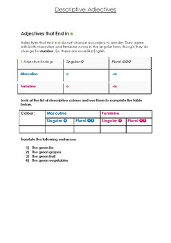 SPANISH colors as descriptive adjectives worksheet and explanations